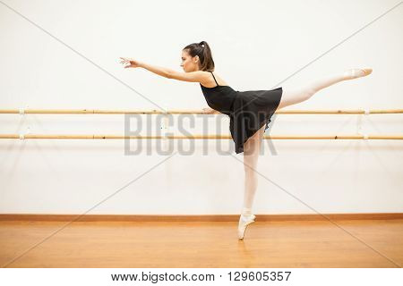 Beautiful Dancer Standing Next To A Barre