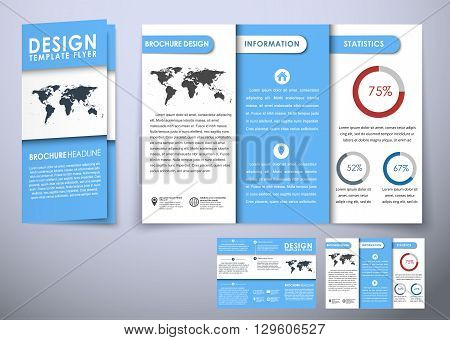 Template Triple Folding Brochure Design Style Material