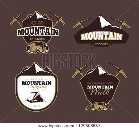 Mountain exploration retro vector emblems, labels, badges, logos set. Mountain emblem, label mountain exploration, badge vintage mountain exploration illustration