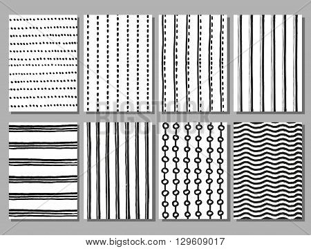 Grunge striped and dotted vector hand drawn patterns. Grunge stripe pattern, dotted pattern, drawing line pattern, seamless pattern illustration