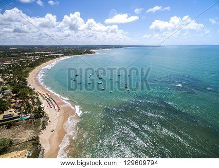 Aerial View of Coastline North of Bahia, Brazil