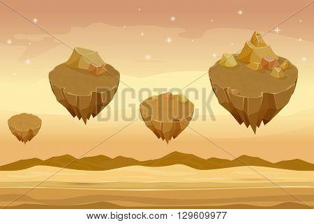 Seamless cartoon desert landscape, sandy desert with mountains on background. Landscape desert, cartoon desert mountain, nature gui desert illustration