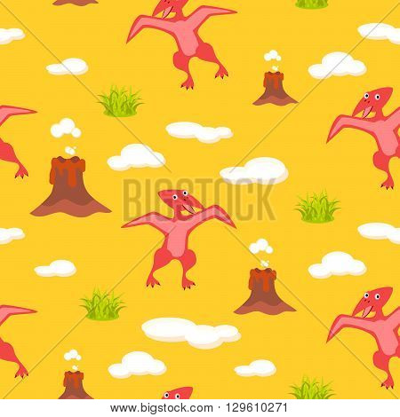 Pterodactyl kid seamless vector pattern for textile print. Red happy cartoon dino reptile with clouds and volcano on yellow. Baby fabric pattern. poster