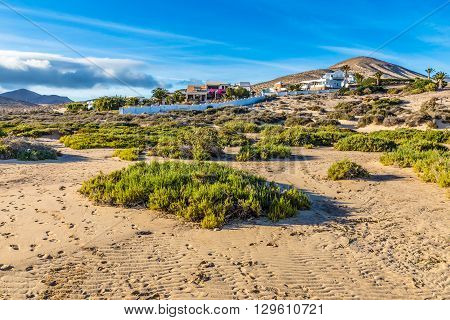 Buildings On Sotavento Beach During Clear Summer Day - Fuerteventura Canary Islands Spain