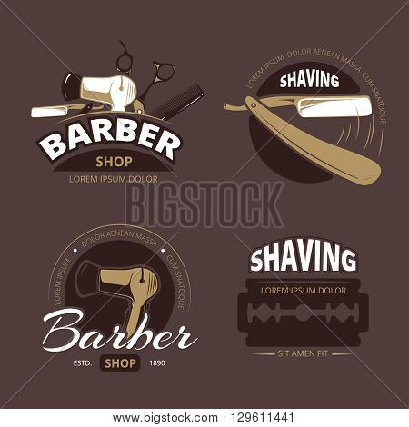 Barber shop and shave shop vector vintage logo, labels and badges. Barbershop logo, shaving label, logotype barber shop,  emblem or label barber shop, badge shaving illustration poster