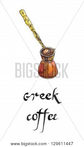 Old greek copper coffeepot with long handle hand drawn - watercolor Illustration