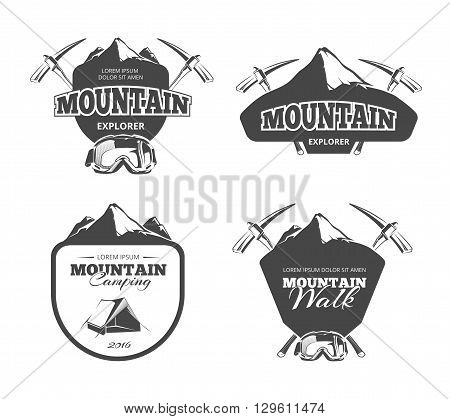 Vintage mountain camping, mountaineering vector emblems, labels, badges, logos set. Logo adventure mountain, emblem mountain walk, badge mountain explorer, label mountain expedition illustration