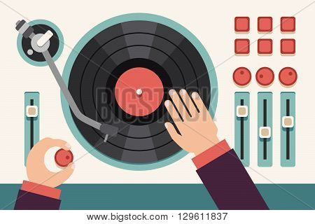 Turntable with dj hands. Modern music flat vector concept background. Sound turntable, music turntable audio, disco turntable, dj party mixer musical illustration