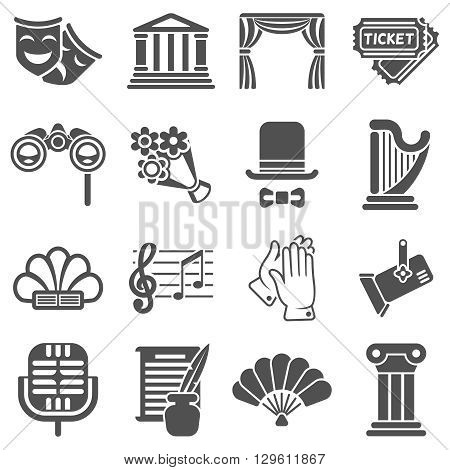 Theater acting vector black icons. Acting theater, mask theater, icon theater comedy, art drama theater illustration