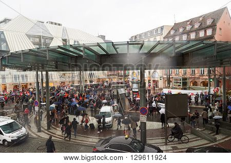 STRASBOURG FRANCE - MAY 12 2016: Paralyzed public transportation as thousand of people demonstrate as part of nationwide day of protest against labor reforms by France Government