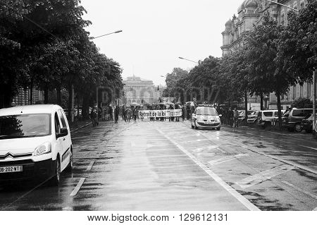 Closed Street At Protest Against France Labour Reforms