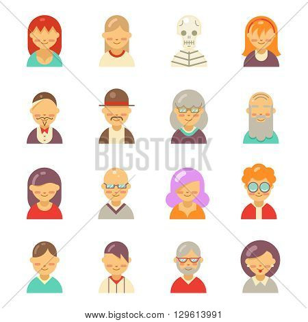 Flat people icons for app user avatar face. Man and woman vector flat icons. User avatar, face avatar people set, character avatar icon,  avatar app, human avatar head set illustration