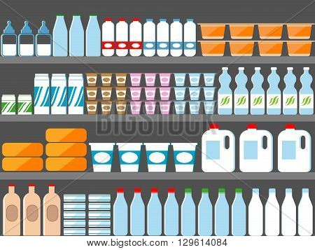 Store shelves with milk and dairy products. Vector illustration in flat style. Milk market, milk food, dairy food supermarket, milk store, milk bottle retail