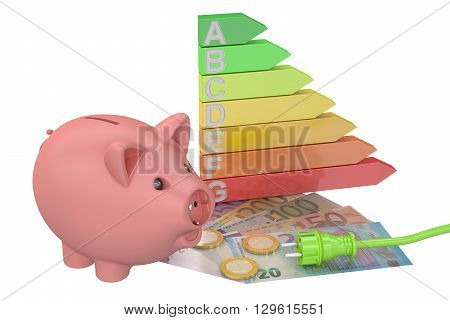 saving energy consumption concept 3D rendering isolated on white background