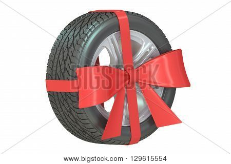 wheel with bow and ribbon 3D rendering isolated on white background