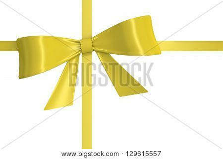 yellow bow and ribbon 3D rendering isolated on white background