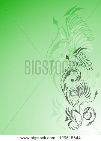 Abstract light green background with ornament tattoo, vector illustration