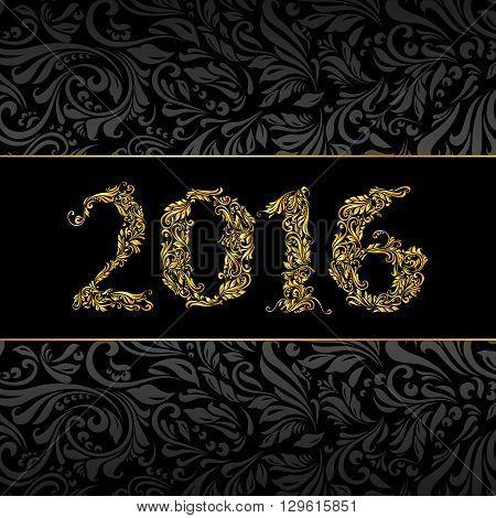 Elegant black and golden banner for year Twenty-Sixteen over ornate floral pattern background