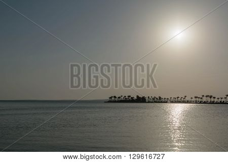 Beautiful sunset above the calm Red sea