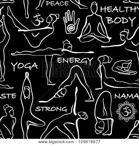 Black and white seamless pattern of yoga poses. Yoga abstract background with asanas symbols and text.