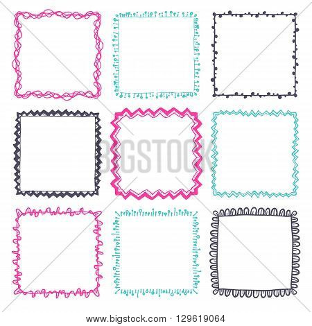 Set of 9 decorative square border frames. Boho square wreaths for use as a decorative element, for logo or emblem. Square pattern, square border. These pattern brush you can find in my portfolio