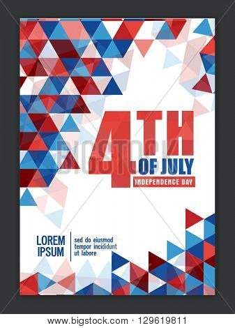 Creative Pamphlet, Banner or Flyer design for 4th of July, American Independence Day celebration.