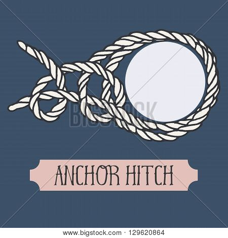 Single illustration of nautical knot. Anchor Hitch. Sailor knot. Nautical rope sign. Artistic hand drawn element. Marine rope knot. Tying the knot. Graphic design element for invitations, cards, logo