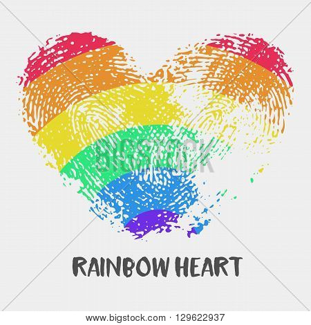 Conceptual logo with fingerprint rainbow heart. Simple flat icon with heart stamp in rainbow colors of LGBT flag. Gay and lesbian support symbol. Heart mark for posters or prints devoted on LGBT theme