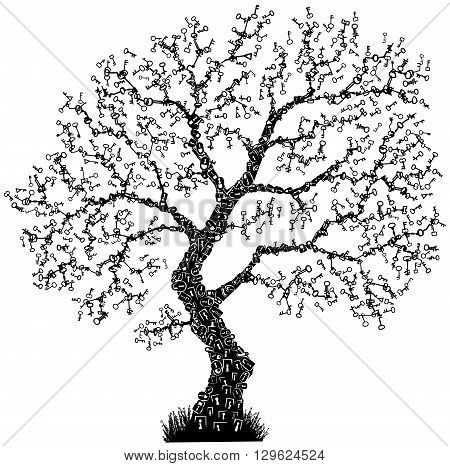 Key symbol tree abstract design element, isolated vector
