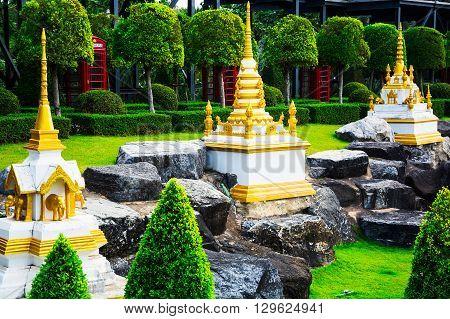 Chonburi, Thailand - March 18, 2016: Landscape Tropical Park In Nong Nooch Tropical Botanical Garden