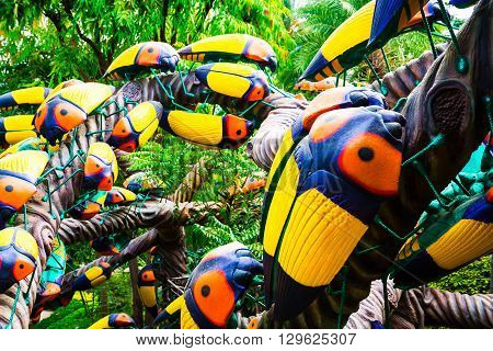 Chonburi, Thailand - March 18, 2016: Beautiful Garden Decoration In Nong Nooch Tropical Botanical Ga