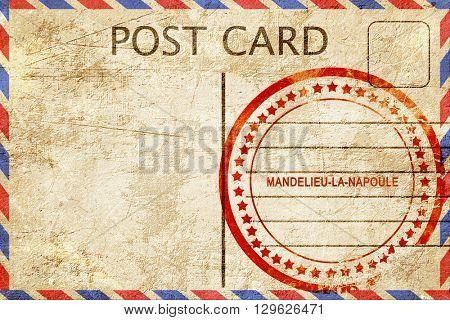 mandelieu-la-napoule, vintage postcard with a rough rubber stamp