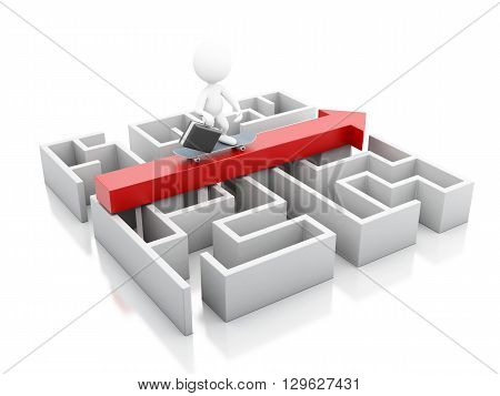 3d renderer image. A maze and above an arrow with a businessman in skate. Business and success concept. Isolated white background.