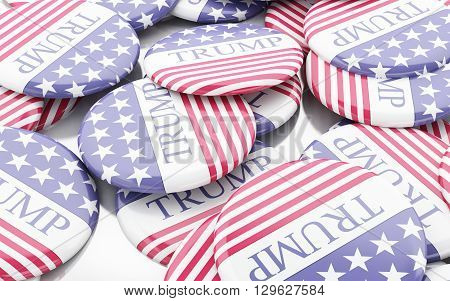 Buenos Aires Argentina - 12 MAY 2016: 3d Illustration of presidential campaign pins of Donald Trump running for the president's office.