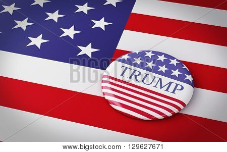 Buenos Aires Argentina - 12 MAY 2016: 3d Illustration of presidential campaign pins of Donald Trump running for the president's office with US flag.