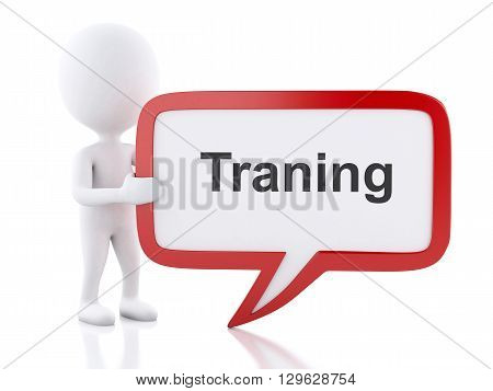 3d renderer image. White people with speech bubble that says Training. Business concept. Isolated white background.