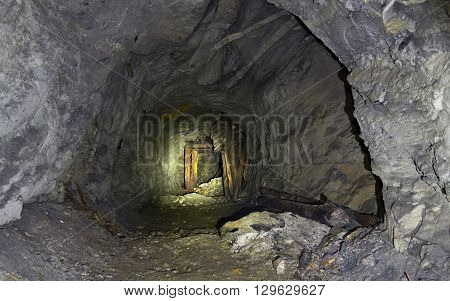 abandoned underground mine workings in the mine for the extraction of mica