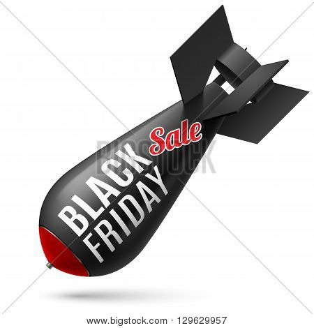 Black Friday. Illustration of black bomb on white