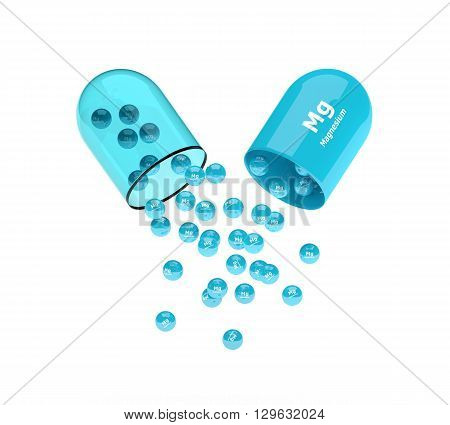 Magnesium Capsule With Granules Isolated Over White