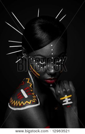 Tribal Beauty Woman with Make-up
