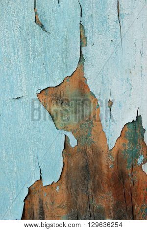 Old painted cracky blue wooden texture. Vintage rustic style. Natural surface background