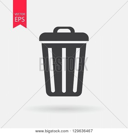 Trash bin or delete icon. Trash bin logo flat design style. Delete vector icon. Trash bin Isolated on white background. Vector illustration