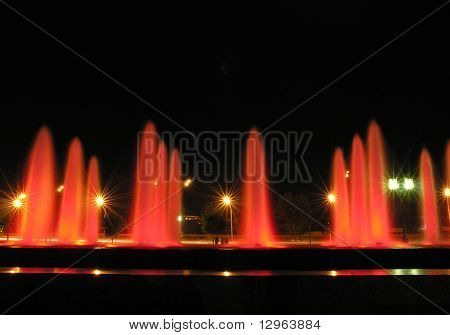 red night fountain