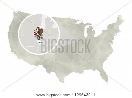 Polygonal Abstract Usa Map With Magnified Illinois State.