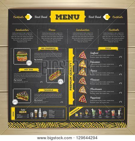 Vintage chalk drawing fast food menu design. Cocktail menu