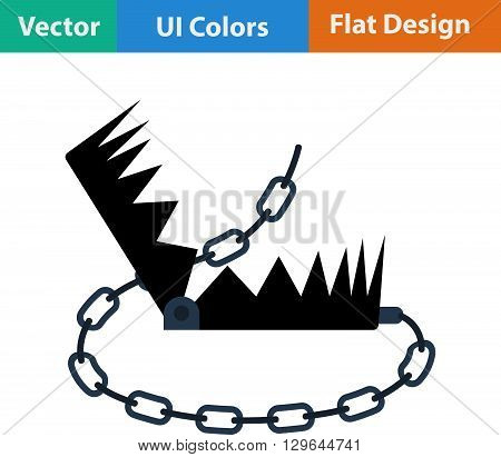 Flat Design Icon Of Bear Hunting Trap