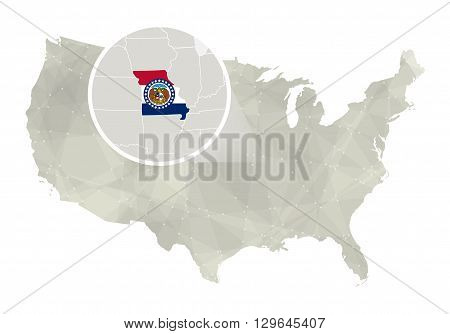 Polygonal Abstract Usa Map With Magnified Missouri State.
