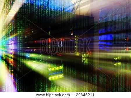 abstract motion blur futuristic room binary code data center matrix