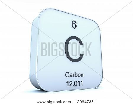 Carbon element on white square icon on white background 3D rendering