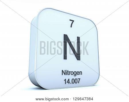 Nitrogen element on white square icon on white background 3D rendering